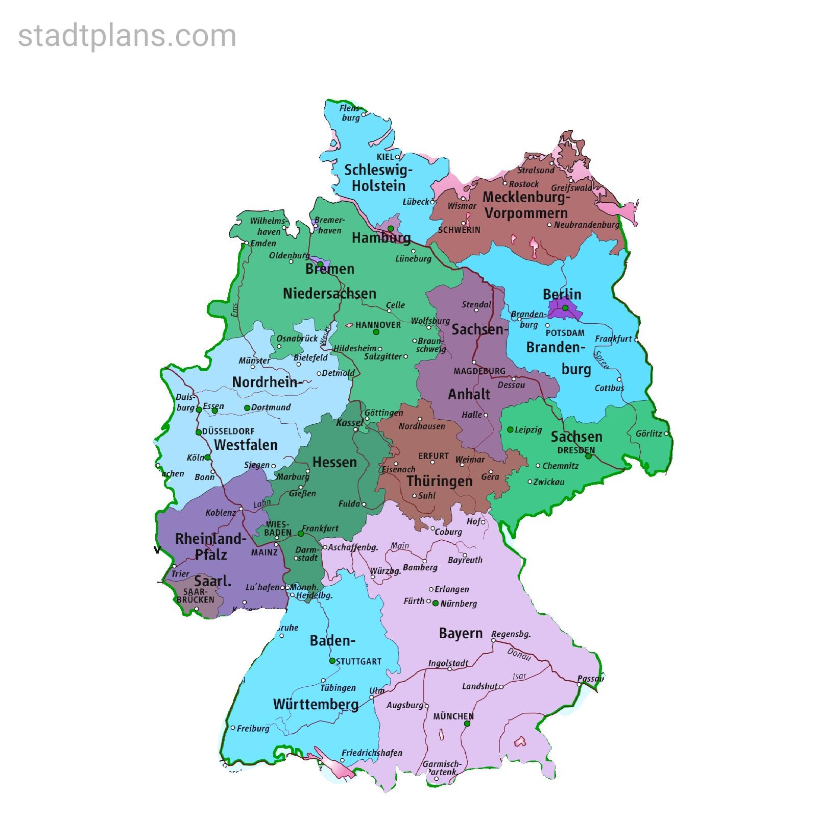 Deutschland Karte Stadte Bundeslander Deutschlandkarte