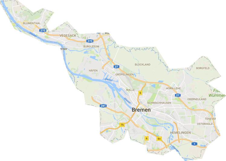 karte bremen bremen karte stadtteile | StadtPlan
