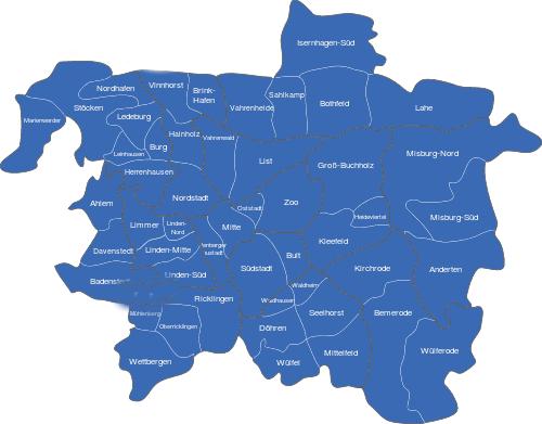 karte hannover mit stadtteilen hannover karte stadtteile | StadtPlan