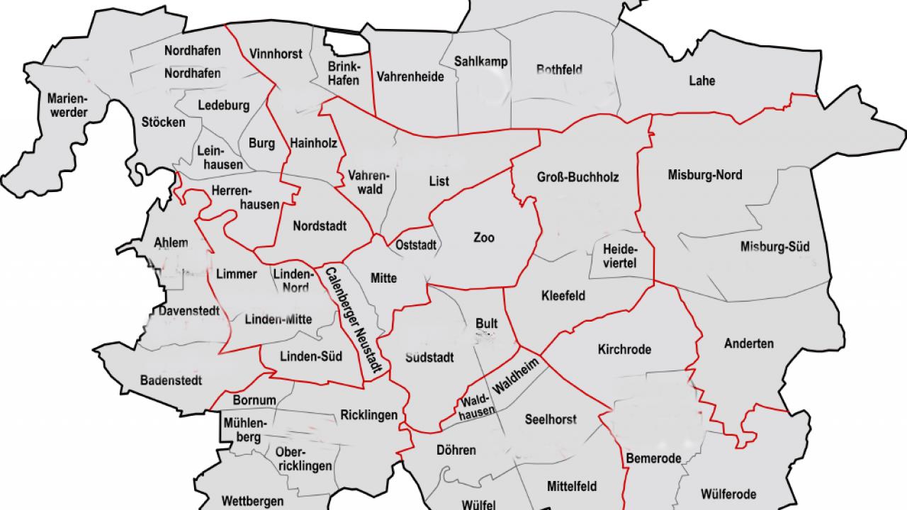 karte hannover mit stadtteilen Hannover Landkarte | Hannover Stadtplan stadtteile | Hannover