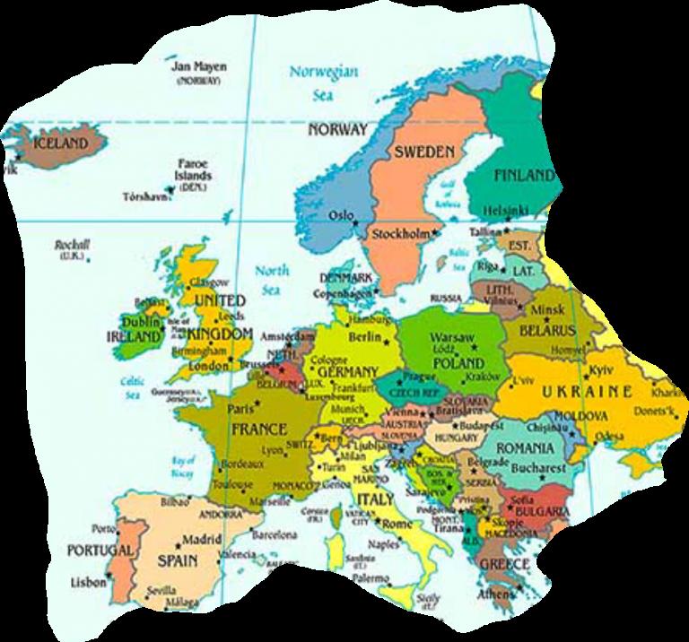 Europakarte Mit Hauptstadten Europakarte Zum Ausdrucken