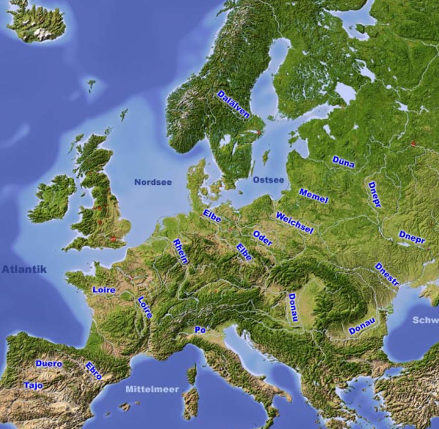 Satellitenbild der europäischen Länder