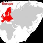 Europa auf der Weltkarte mit Kontinenten