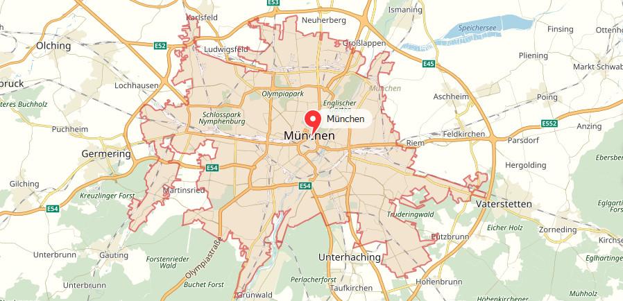 Munchen Landkarte Stadtplan